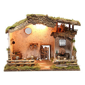 Nativity rural stable with lights, 36x50x26cm with pub and fountain s1