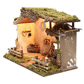 Nativity rural stable with lights, 36x50x26cm with pub and fountain s2