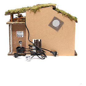 Nativity rural stable with lights, 36x50x26cm with pub and fountain s4