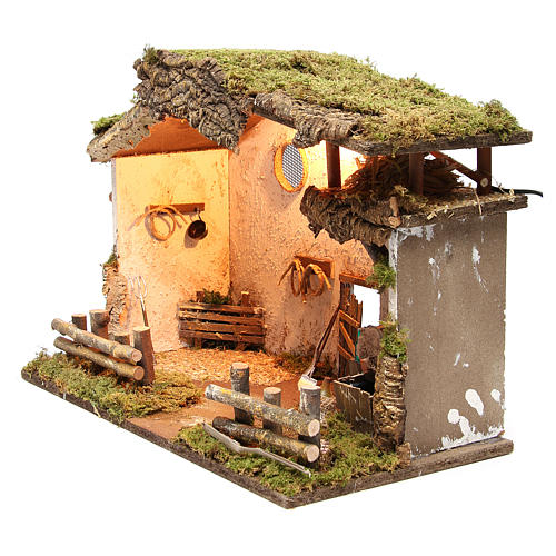 Nativity rural stable with lights, 36x50x26cm with pub and fountain 2