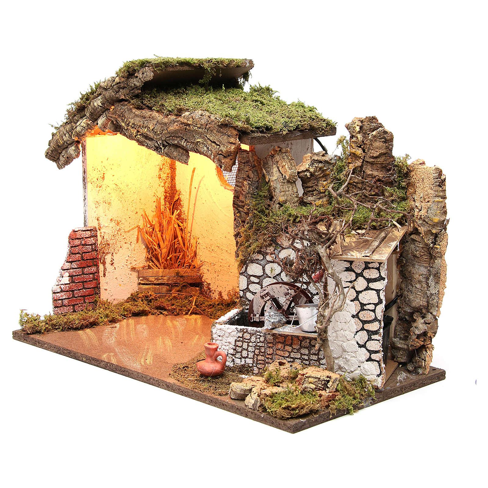 Cabane crèche illuminée 36x50x26 cm avec moulin à eau 4