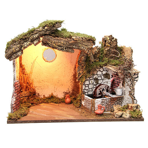 Cabane crèche illuminée 36x50x26 cm avec moulin à eau 1