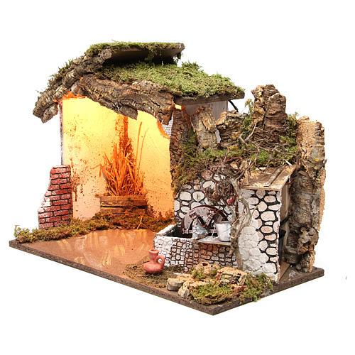 Cabane crèche illuminée 36x50x26 cm avec moulin à eau 2