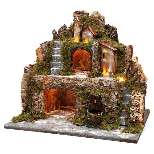 Pueblo iluminado con cabaña, cascada y escalera para belén 40x40x30 cm 2