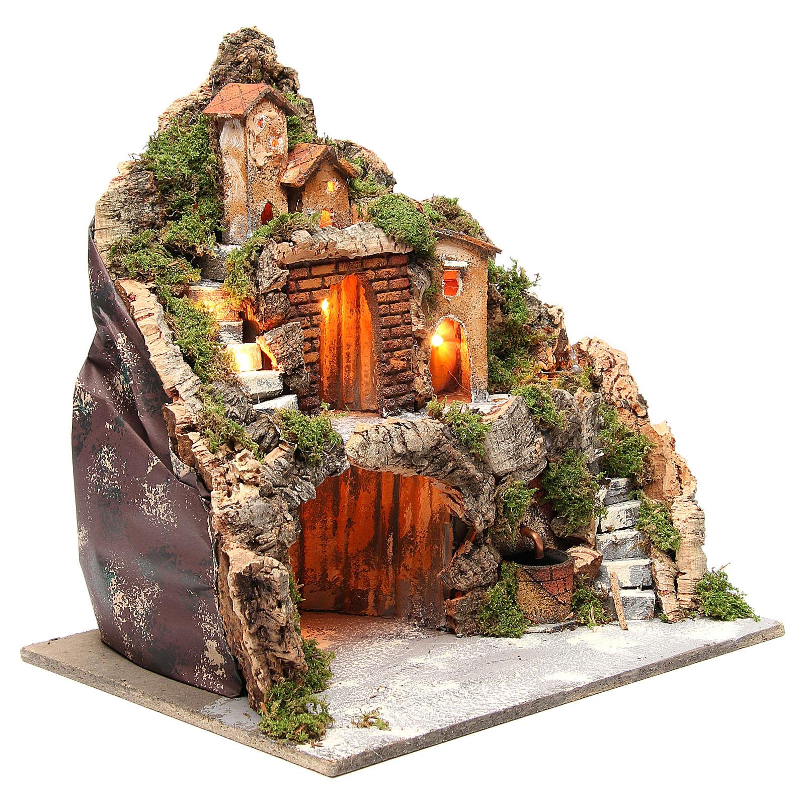 Capanna illuminata con borgo 40x40x30 con cascata e scalinata 4