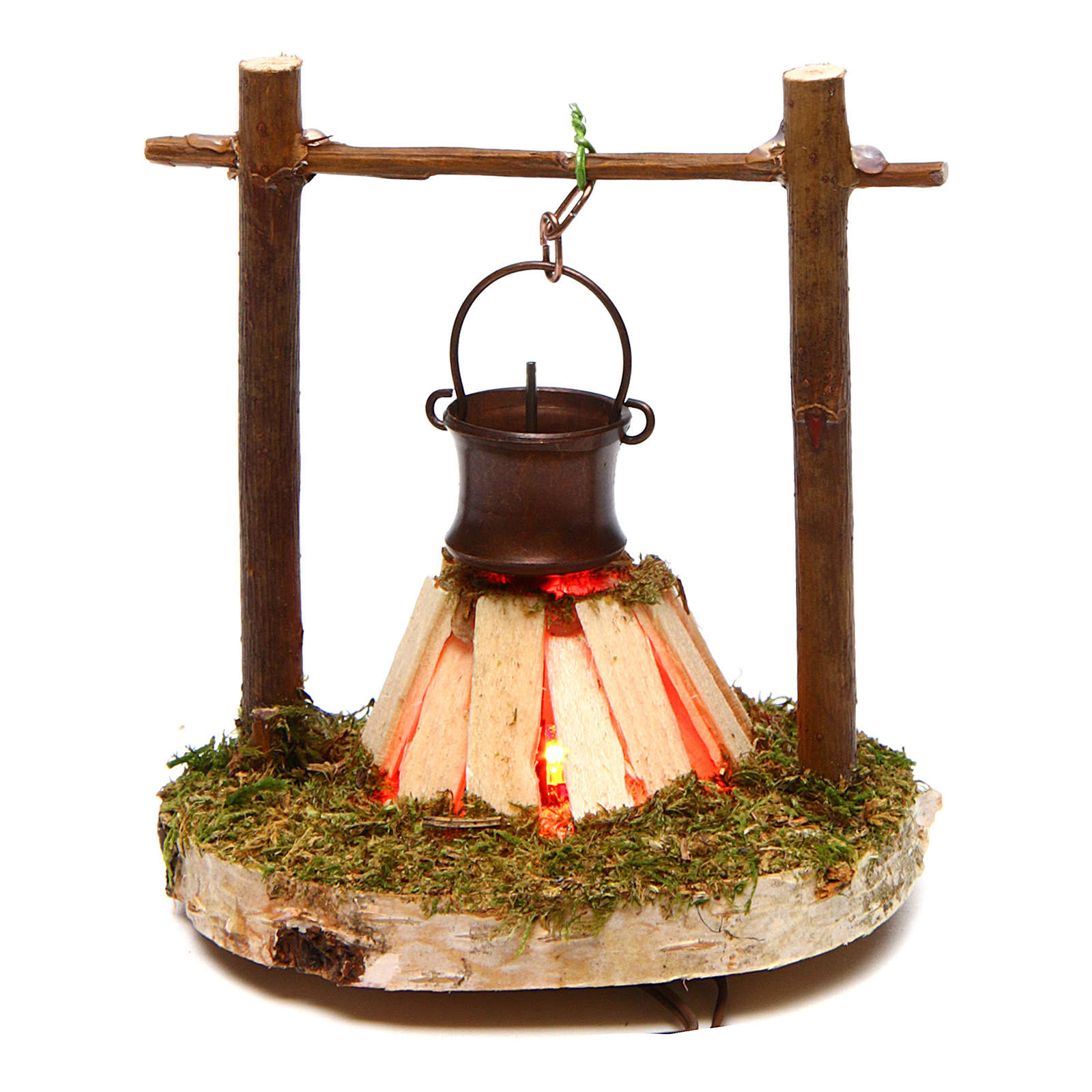 Fire with cauldron and smoke 4,5V h. 7cm 4