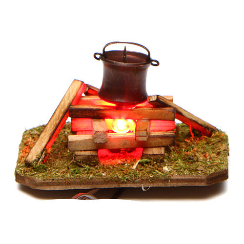 Camp fire with smoke 4,5V h. 4x7x5cm 1
