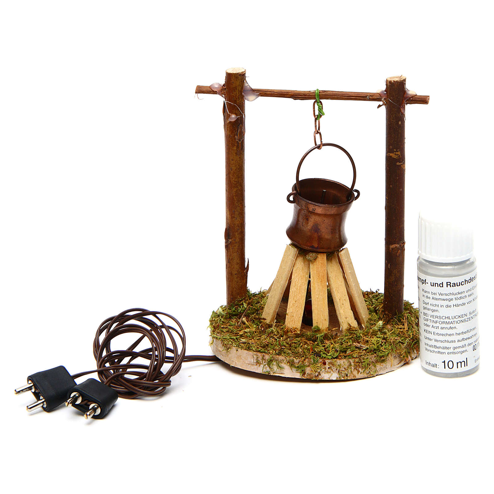 Camp fire cauldron with smoke and light 4,5V h. 9x6cm 4