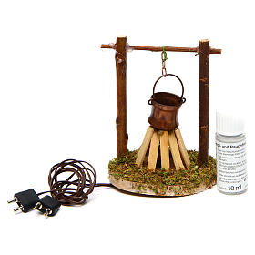 Camp fire cauldron with smoke and light 4,5V h. 9x6cm s3
