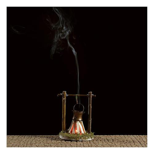 Camp fire cauldron with smoke and light 4,5V h. 9x6cm 2