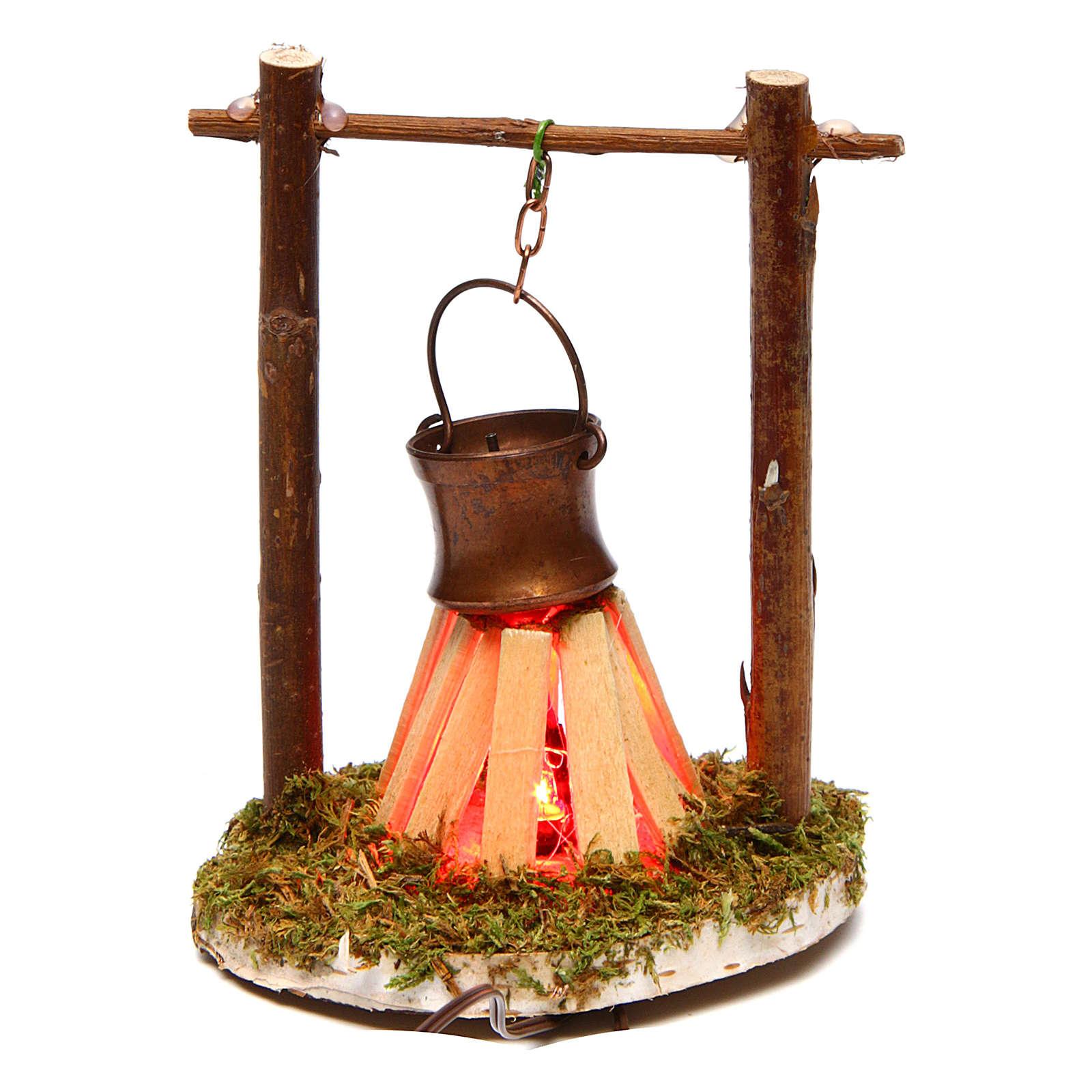 Camp fire cauldron with smoke and light 4,5V h. 9x6cm 4