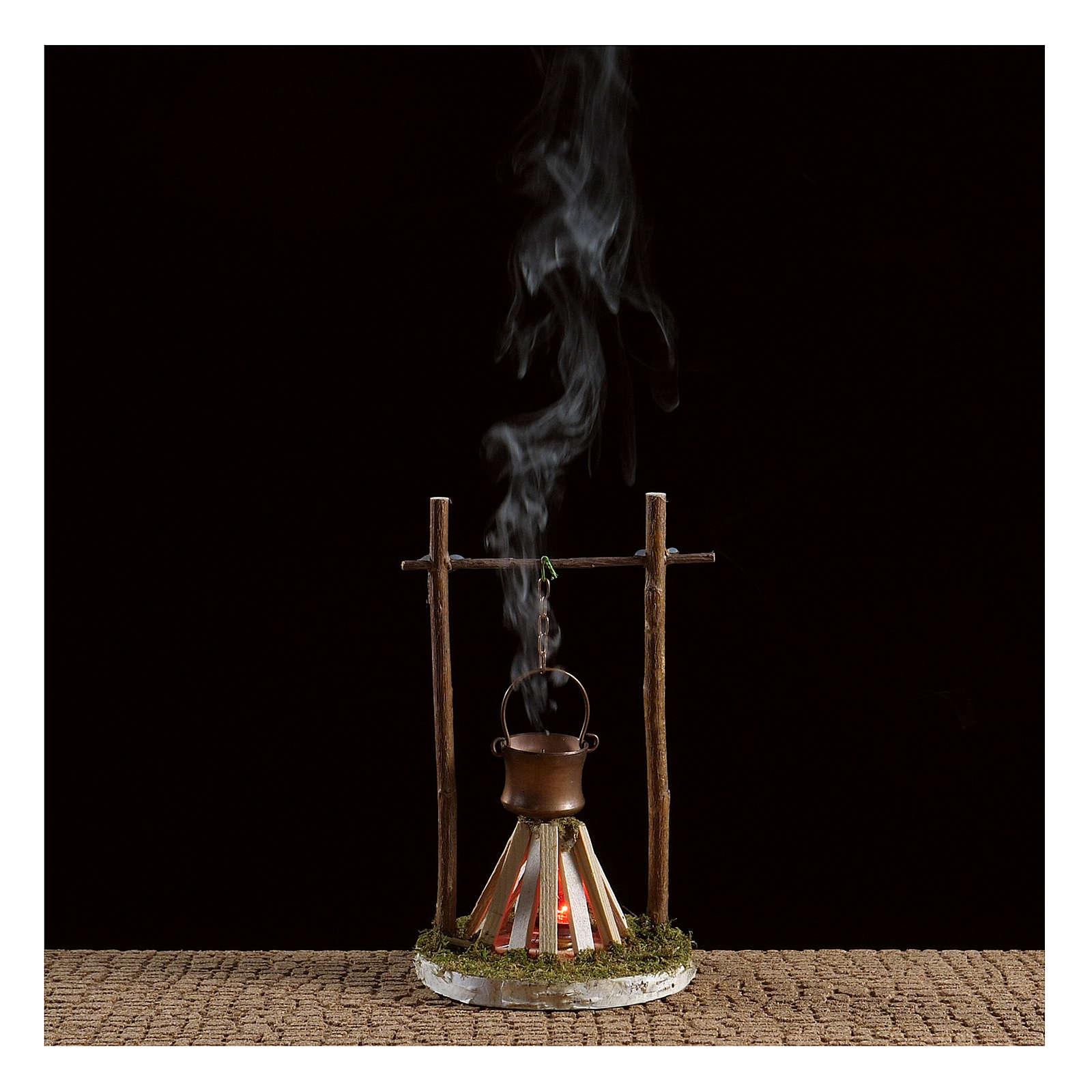 Hoguera con humo y luz 4,5V h. 15x10 cm 4