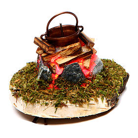 Fireplaces and ovens: Fire Nativity with smoke 4,5V h. 6,5x3,5cm