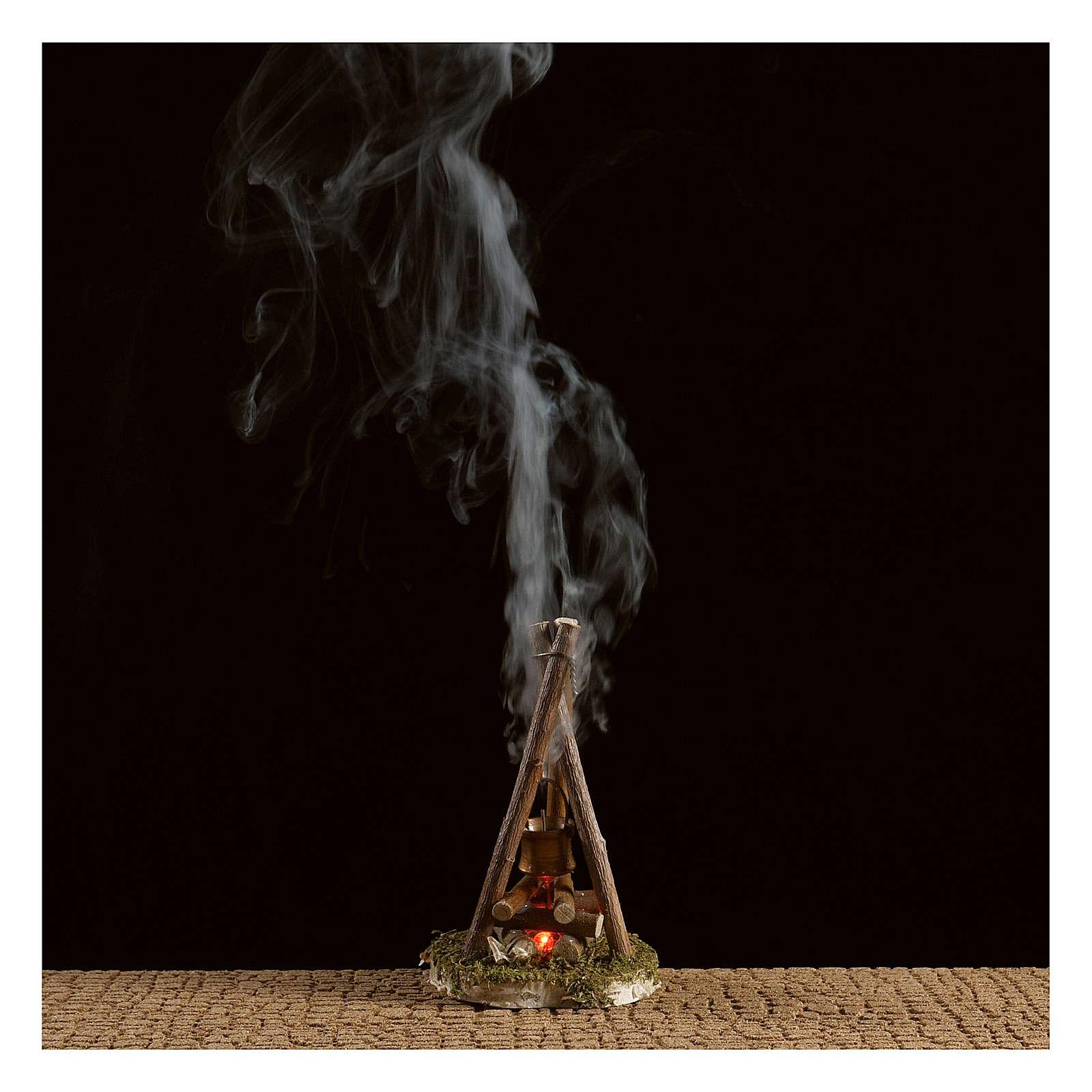 Ogień na biwak z prawdziwym dymem do szopki 4,5 V h. 11x7 cm 4