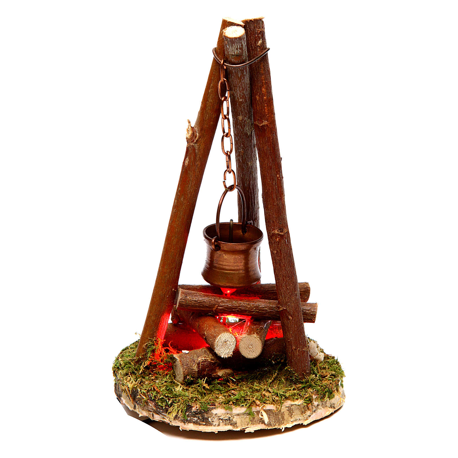 Camp fire nativity with smoke 4,5V h. 11x7cm 4