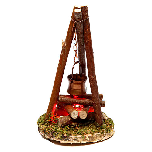 Camp fire nativity with smoke 4,5V h. 11x7cm 1