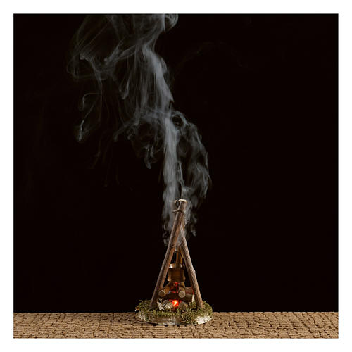 Camp fire nativity with smoke 4,5V h. 11x7cm 2