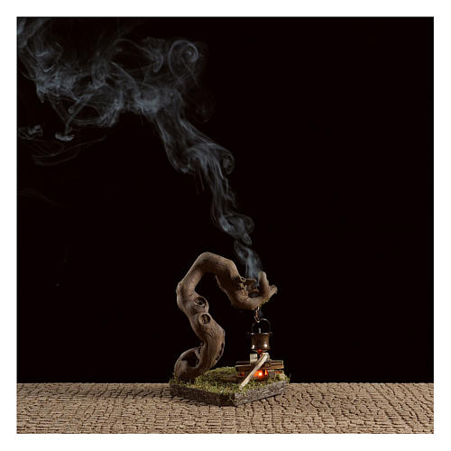 Fuego para belén con humo 4,5V h.12x8x7 cm 2