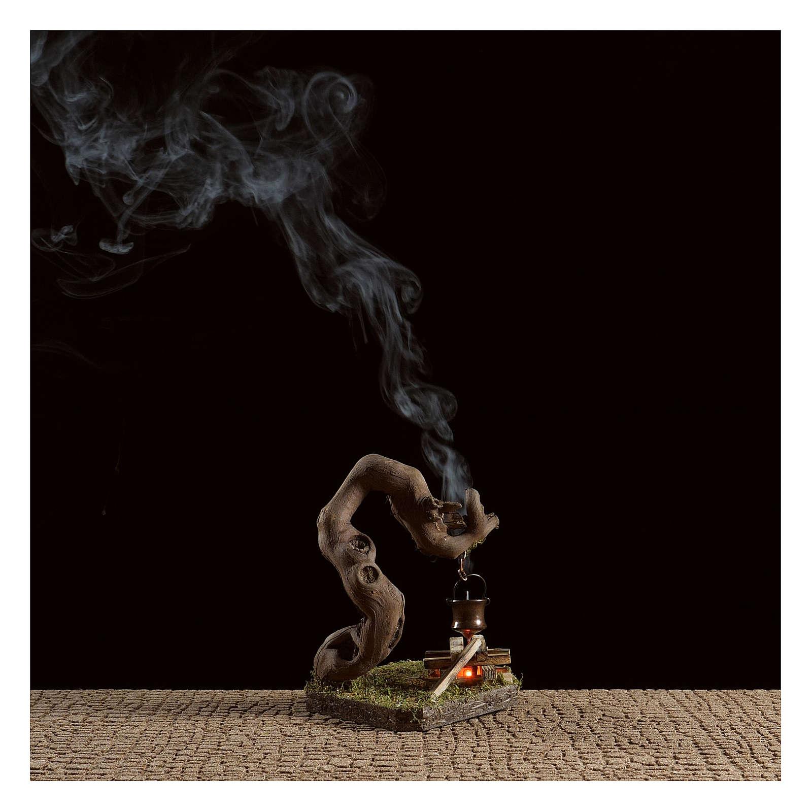 Fuoco per presepe con fumo 4,5V  h.12x8x7 cm 4