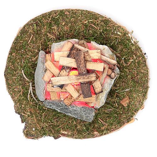 Fuego para belén con luz 4,5V h. 8x5 cm 2