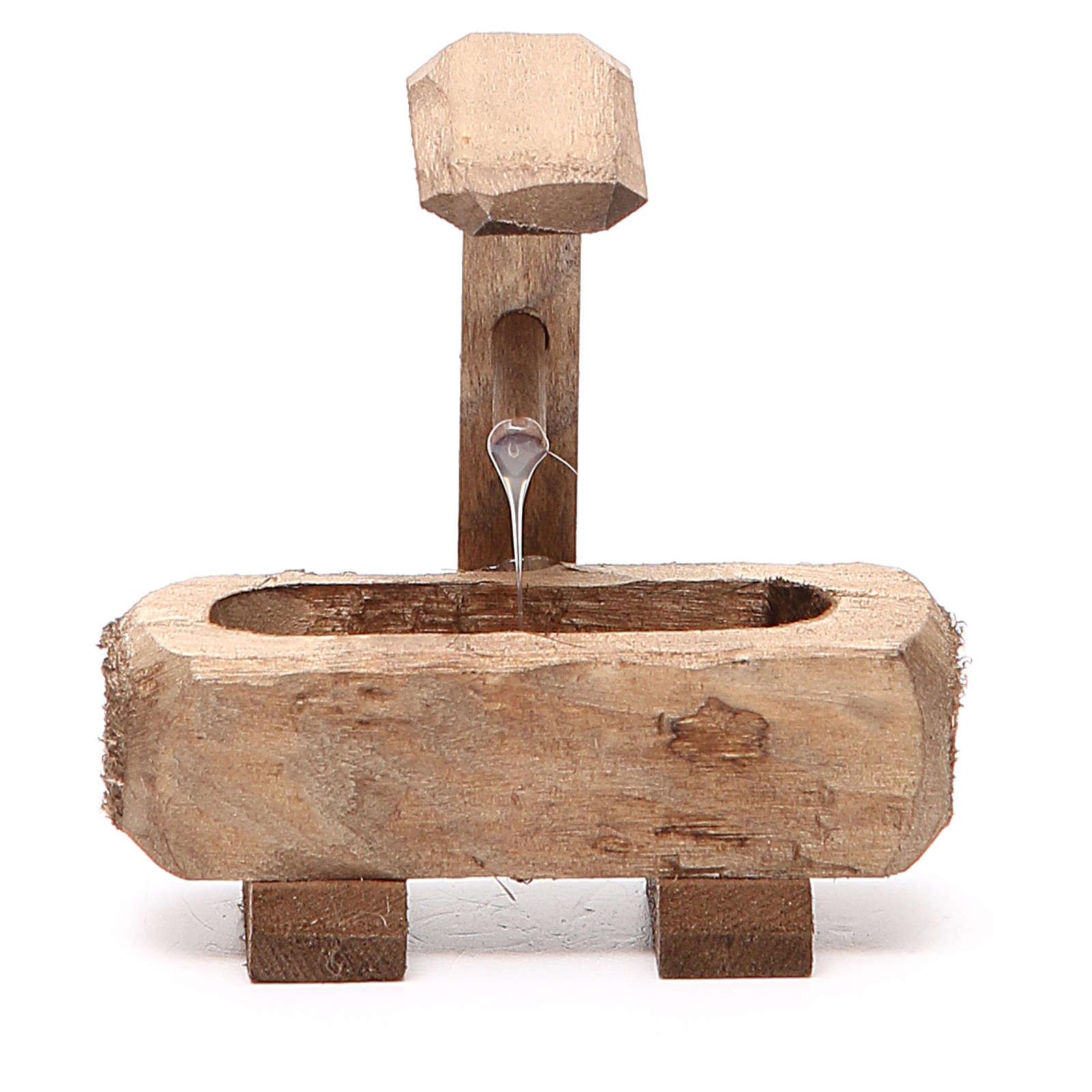Small Fountain for nativity dark wood 8x5x8cm 4