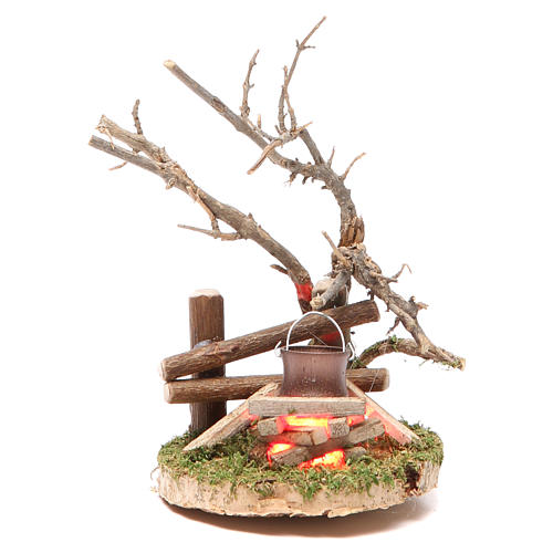 Fire Setting with light 4,5V h.13x6x7cm 1