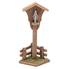 Settings, houses, workshops, wells: Wood Niche Madonna for nativity h. 12x4,5x4,5cm
