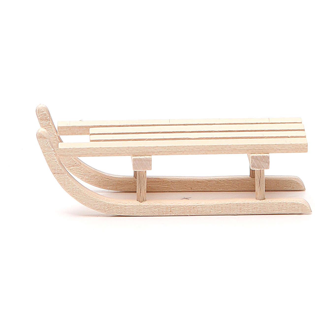 Trineo de madera para belén h.2.5x3.5x9 cm 4