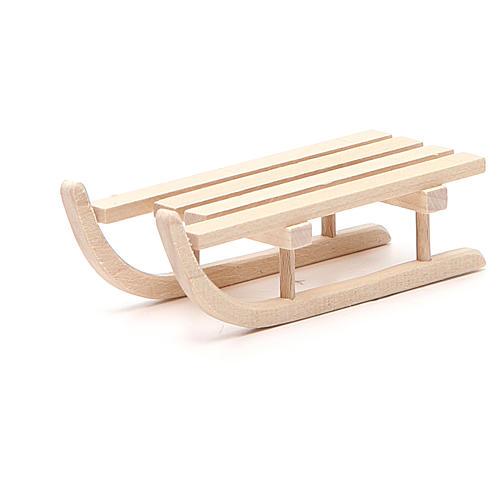 Trineo de madera para belén h.2.5x3.5x9 cm 2