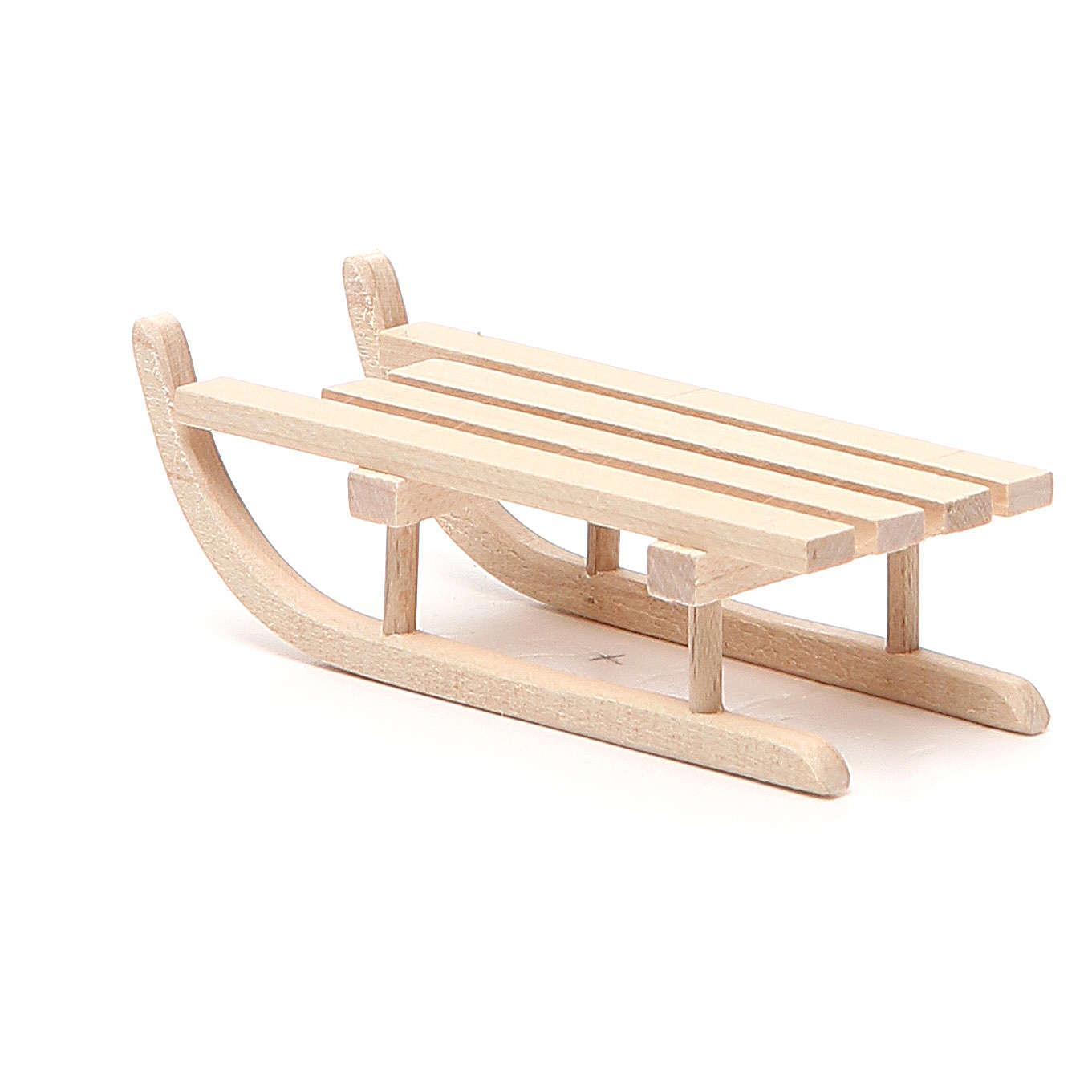 Slitta in legno per presepe h.2,5x3,5x9 cm 4