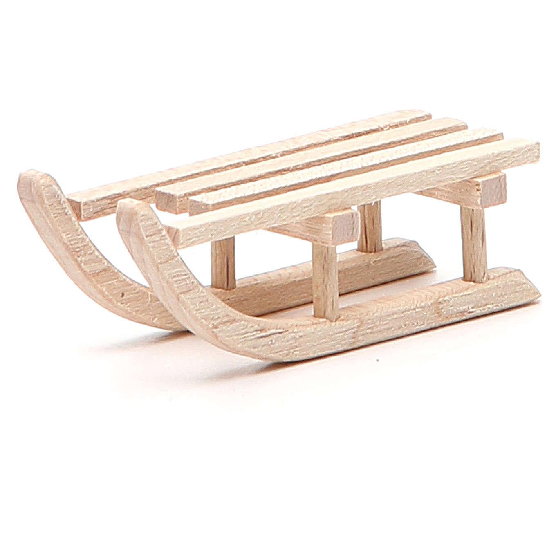 Trineo de madera para belén h. 2x6,5x2,5 cm 4