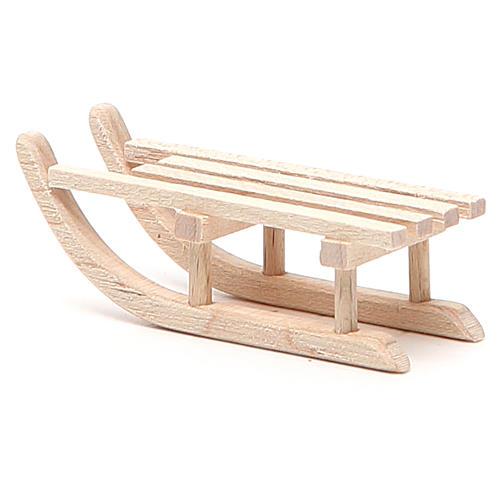 Trineo de madera para belén h. 2x6,5x2,5 cm 3