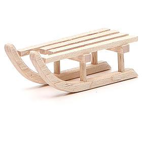 Slitta in legno per presepe h. 2x6,5x2,5 cm s2