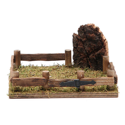 Corral in wood for nativity 12x12cm 1