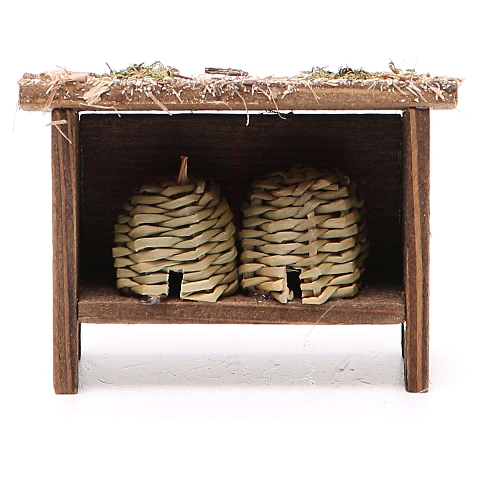 Arnie per api in legno e vimini h. 6x7x3 cm 4