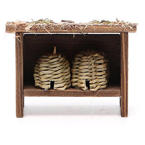 Arnie per api in legno e vimini h. 6x7x3 cm 1