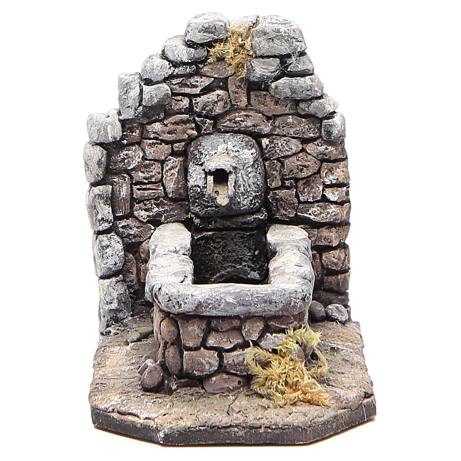 Fontaine en résine type rocher pour crèche 11x16x8 cm 4
