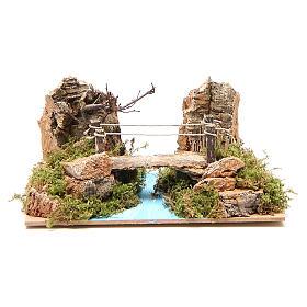 Bridges, streams and fences for Nativity scene: Bridge on river for nativity scene 14x20x12 cm