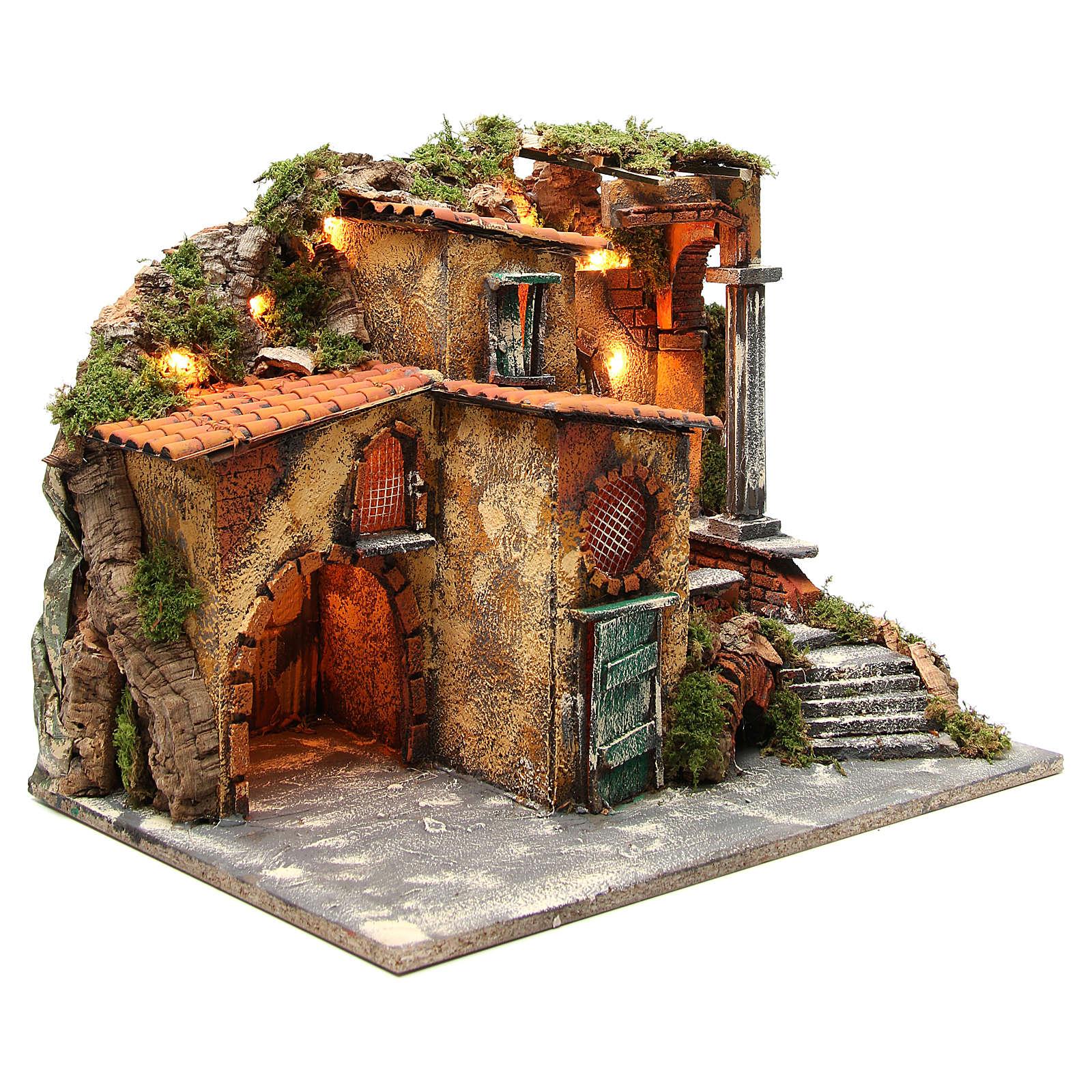 Borgo rustico presepe illuminato con capanna 36x51x35 cm 4