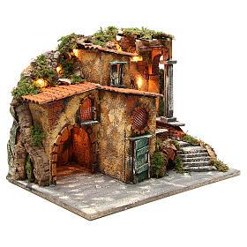 Borgo rustico presepe illuminato con capanna 36x51x35 cm s3