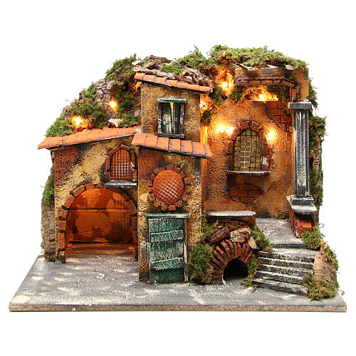 Borgo rustico presepe illuminato con capanna 36x51x35 cm 1