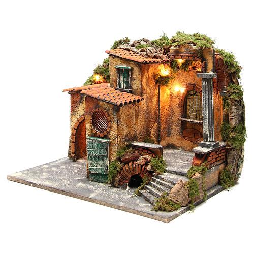 Borgo rustico presepe illuminato con capanna 36x51x35 cm 2