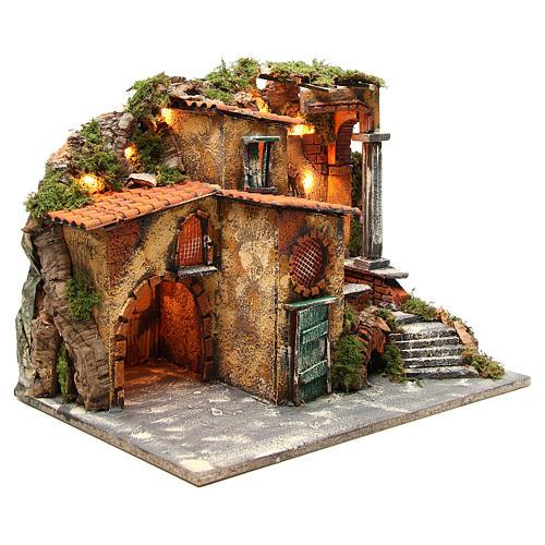 Borgo rustico presepe illuminato con capanna 36x51x35 cm 3