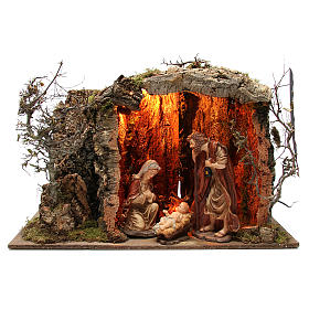 Illuminated stable with figurines of 32cm and fire effect 55x76x40cm s1