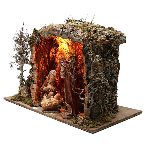 Illuminated stable with figurines of 32cm and fire effect 55x76x40cm 2