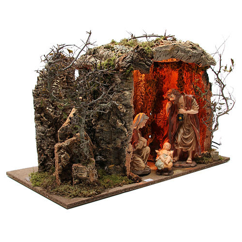 Illuminated stable with figurines of 32cm and fire effect 55x76x40cm 3
