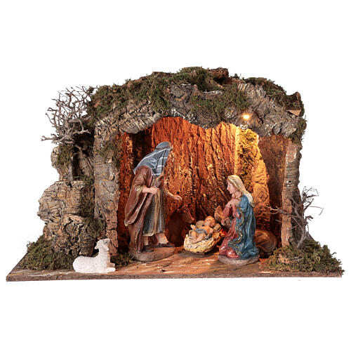 Illuminated stable with figurines of 32cm and fire effect 55x76x40cm 9