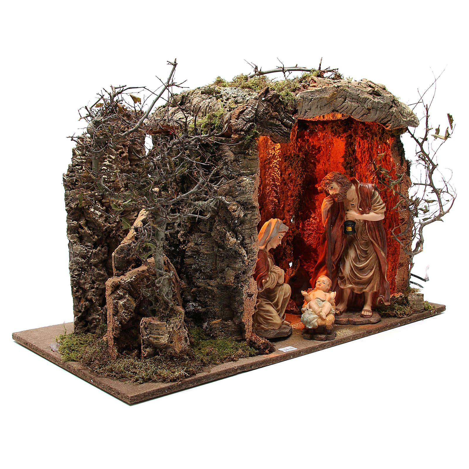 Cabaña para belén iluminada con figuras 32 cm y efecto fuego 55x76x40 cm 4