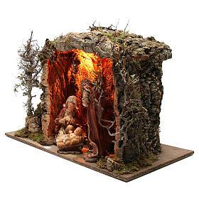 Cabane crèche illuminée avec santons 32 cm effet feu 55x76x40 cm s2