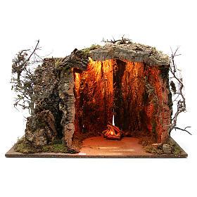 Cabane crèche illuminée avec santons 32 cm effet feu 55x76x40 cm s4